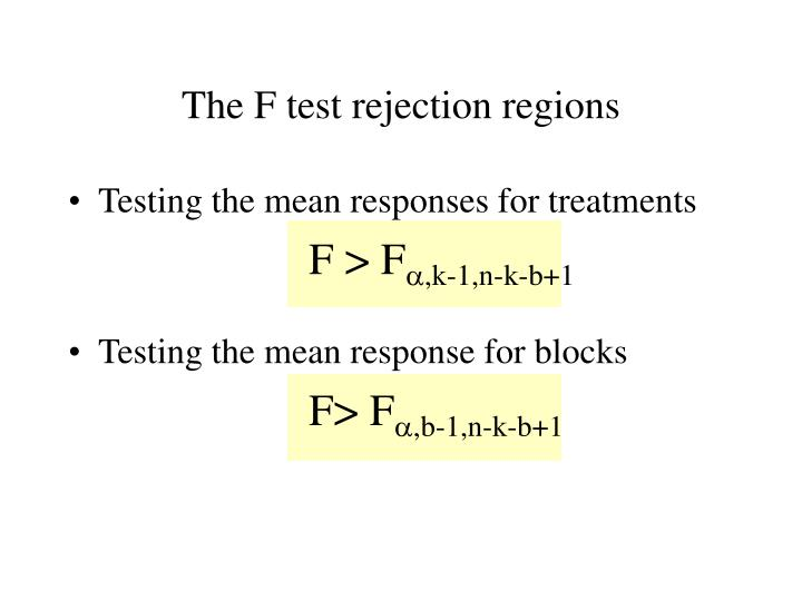 The F test rejection regions