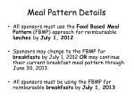 meal pattern details