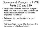 summary of changes to 7 cfr parts 210 and 2201