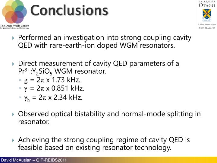 Performed an investigation into strong coupling cavity QED with rare-earth-ion doped WGM resonators.