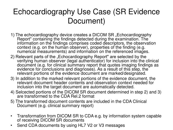 Echocardiography Use Case (SR Evidence Document)