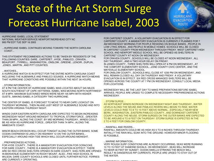 State of the art storm surge forecast hurricane isabel 2003