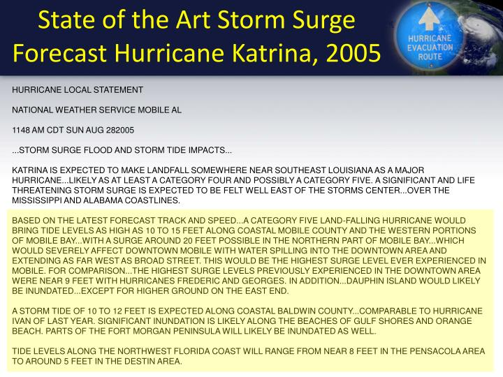 State of the Art Storm Surge Forecast Hurricane Katrina, 2005