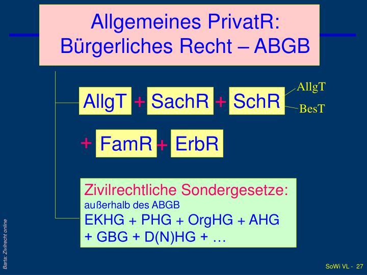 Allgemeines PrivatR: Bürgerliches Recht