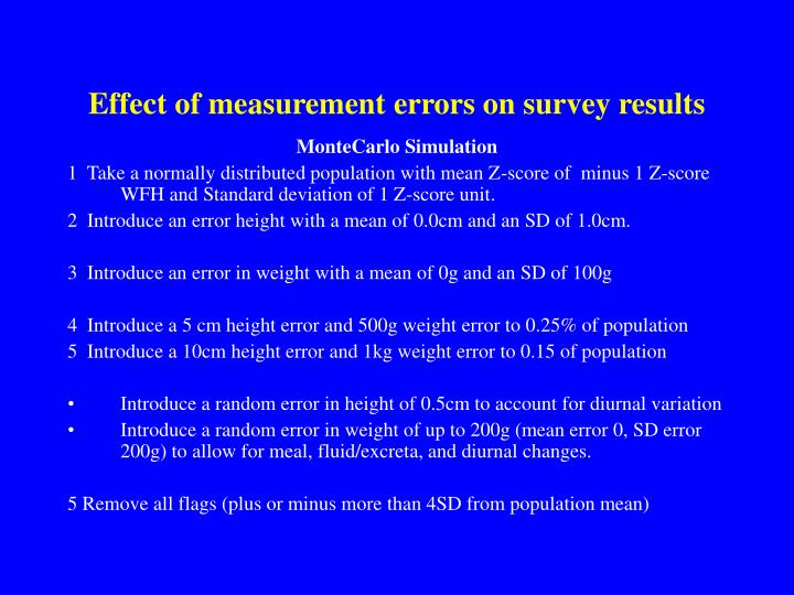 Effect of measurement errors on survey results