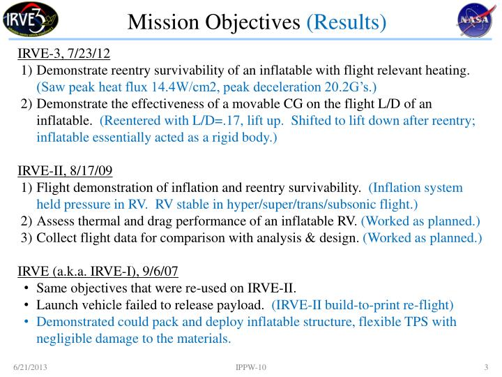 Mission objectives results