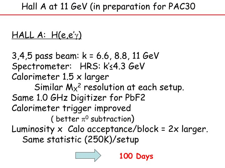 Hall A at 11 GeV (in preparation for PAC30