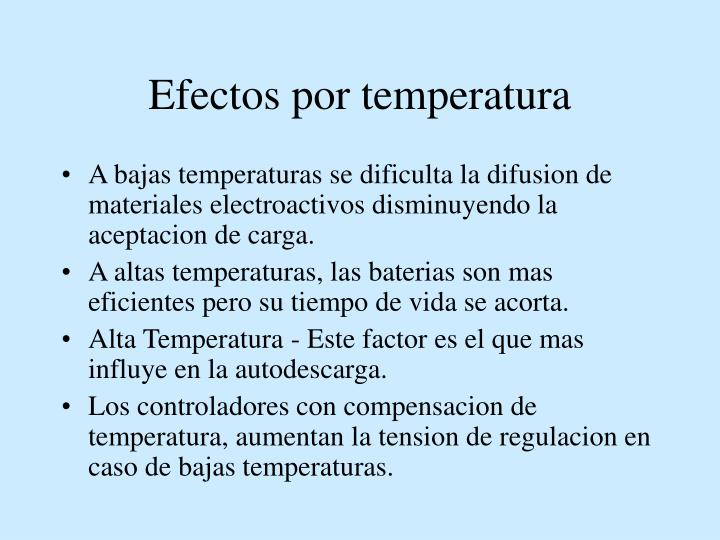 Efectos por temperatura