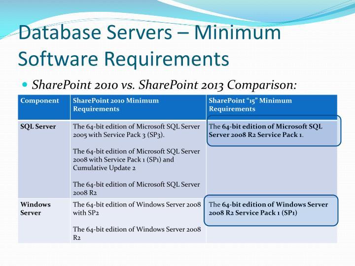 Database servers minimum software requirements