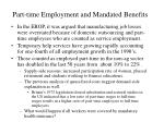 part time employment and mandated benefits
