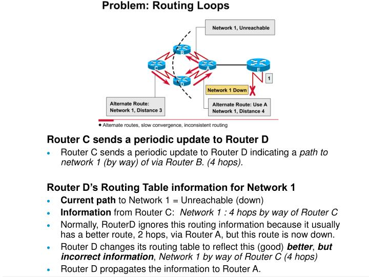 Router C sends a periodic update to Router D