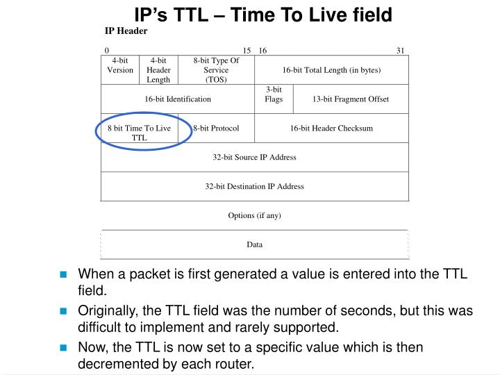 IP's TTL – Time To Live field