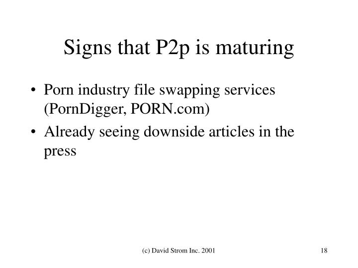 Signs that P2p is maturing