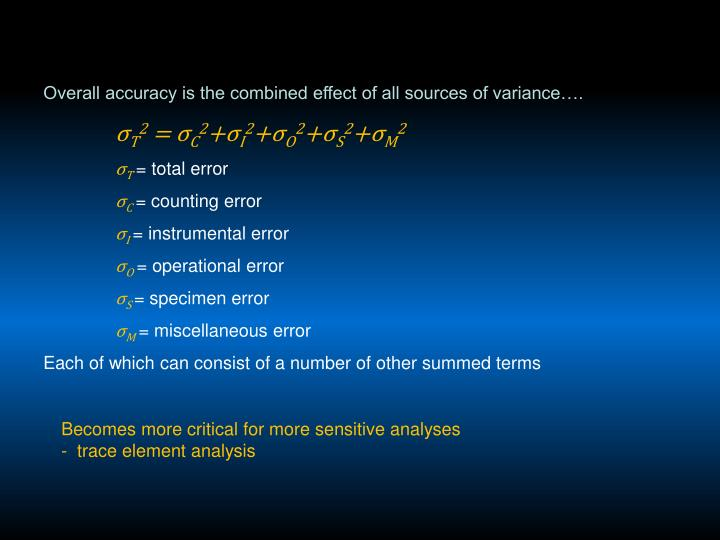 Overall accuracy is the combined effect of all sources of variance….