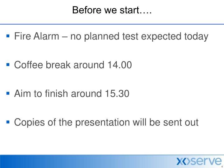 Before we start….