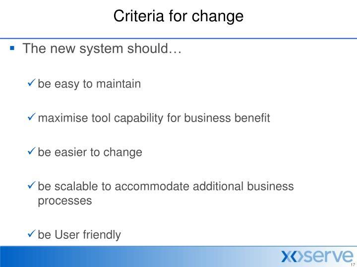 Criteria for change