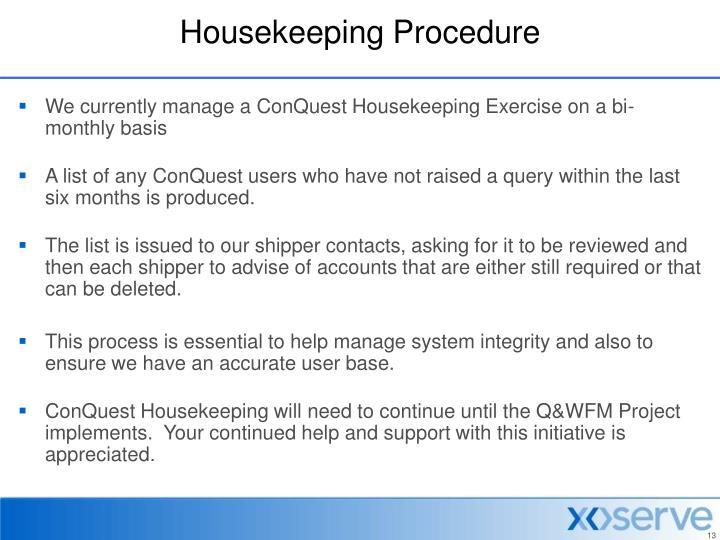 Housekeeping Procedure