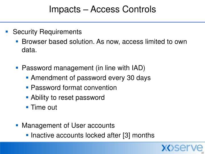 Impacts – Access Controls