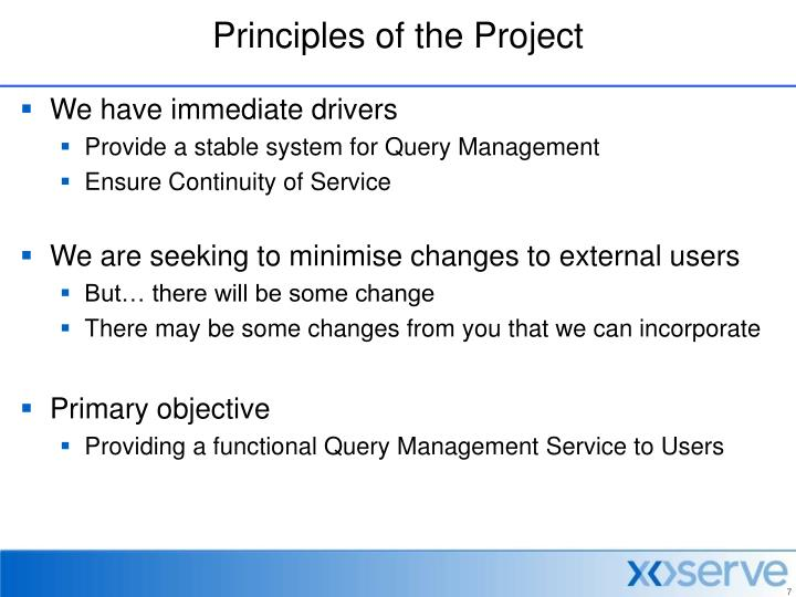 Principles of the Project
