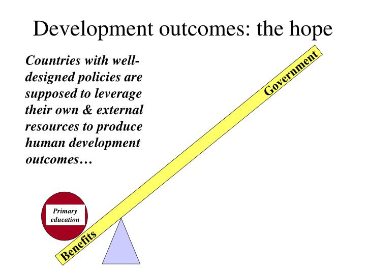 Development outcomes: the hope