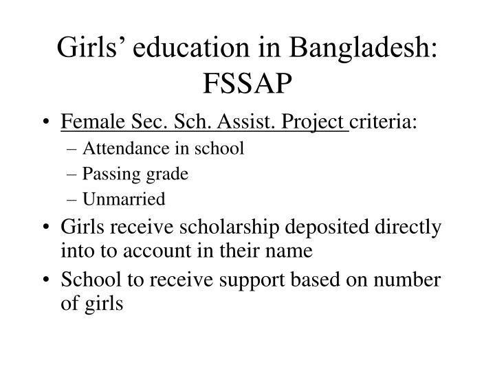 Girls' education in Bangladesh: FSSAP