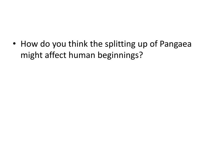 How do you think the splitting up of Pangaea might affect