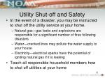 utility shut off and safety