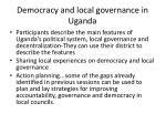 democracy and local governance in uganda