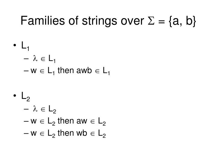 Families of strings over