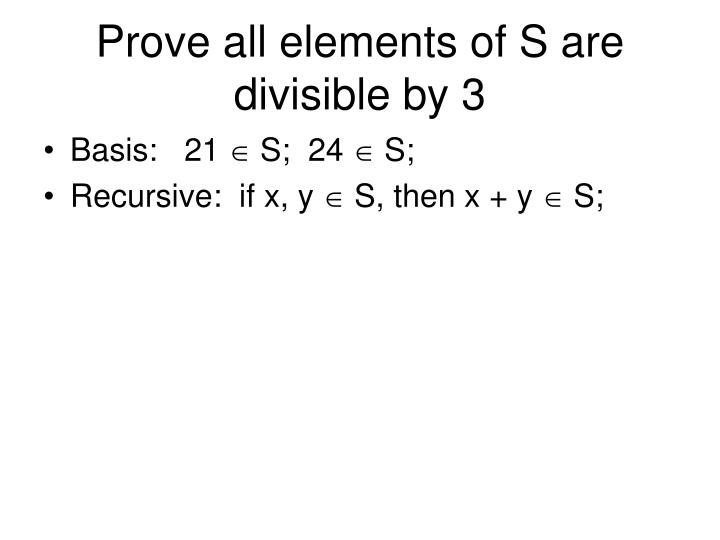 Prove all elements of S are divisible by 3