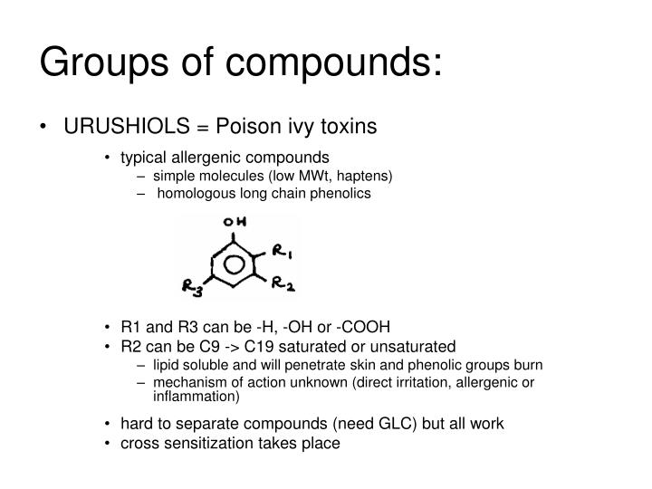 Groups of compounds: