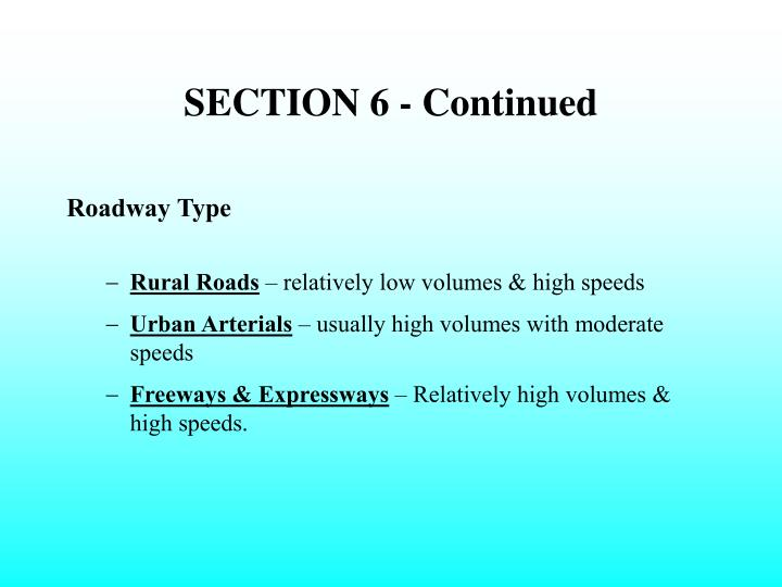 SECTION 6 - Continued