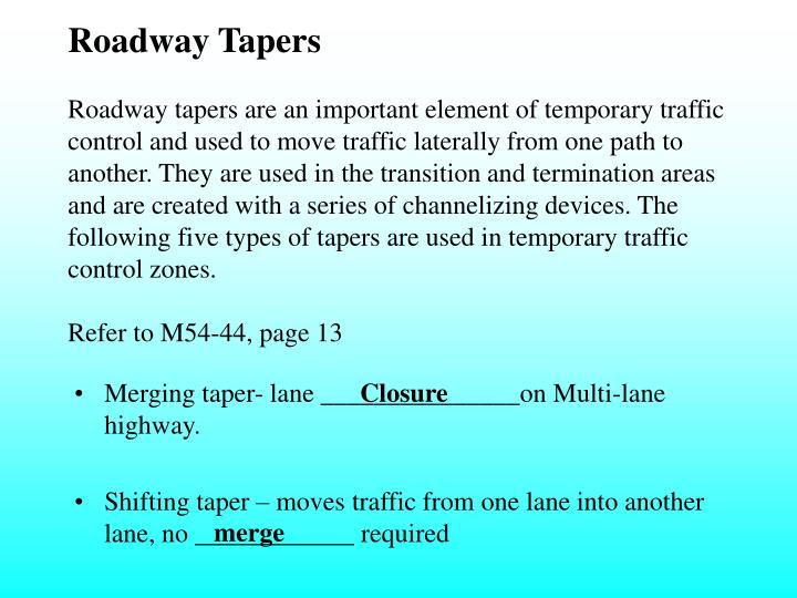 Roadway Tapers