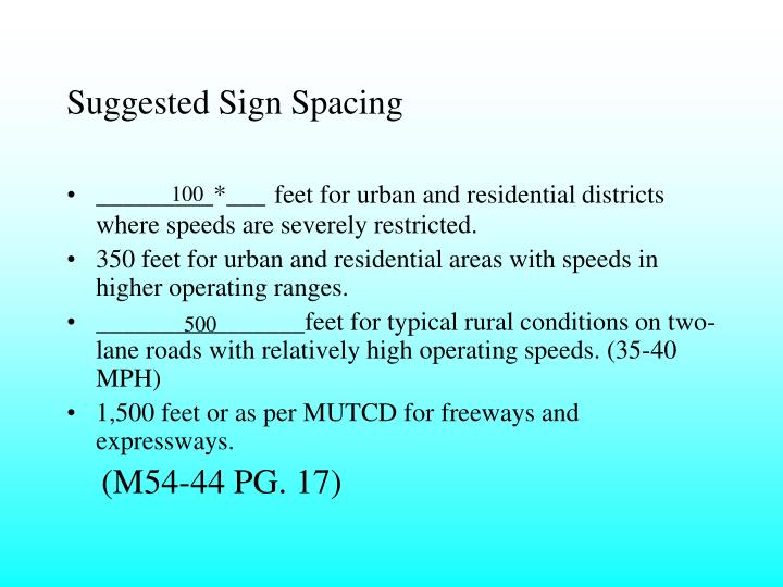 Suggested Sign Spacing
