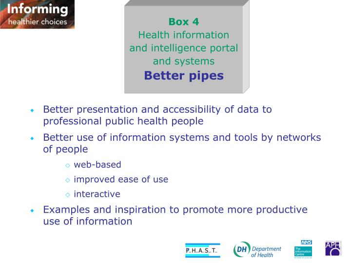 Better presentation and accessibility of data to professional public health people