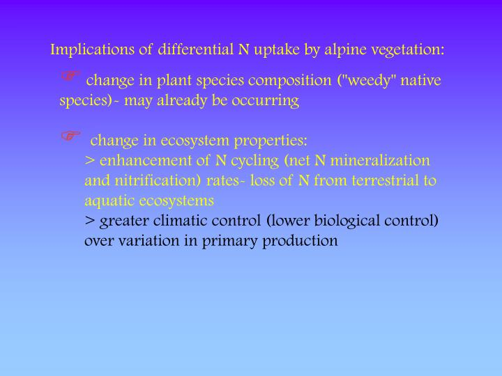 Implications of differential N uptake by alpine vegetation: