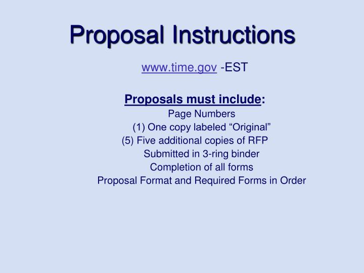 Proposal Instructions