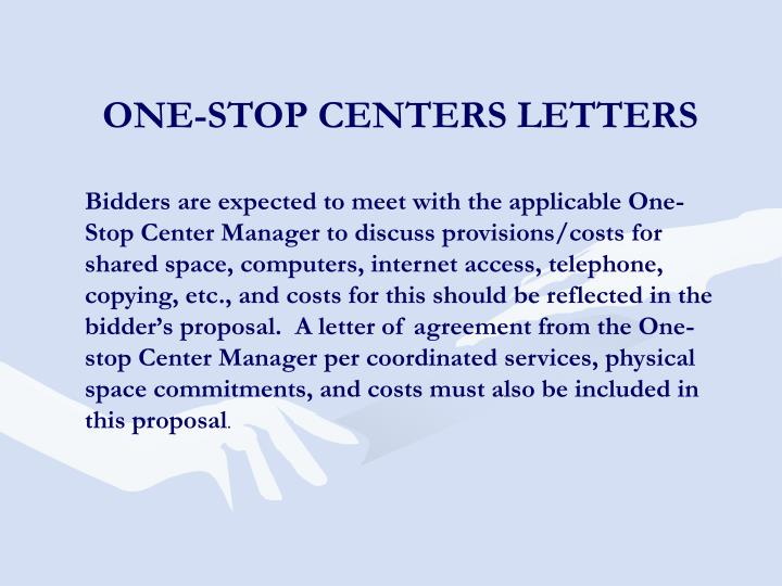 ONE-STOP CENTERS LETTERS