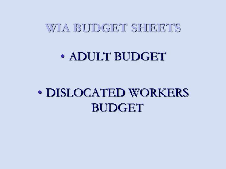 WIA BUDGET SHEETS