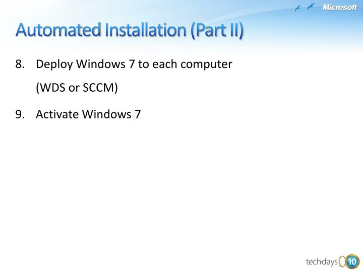 Deploy Windows7 to each