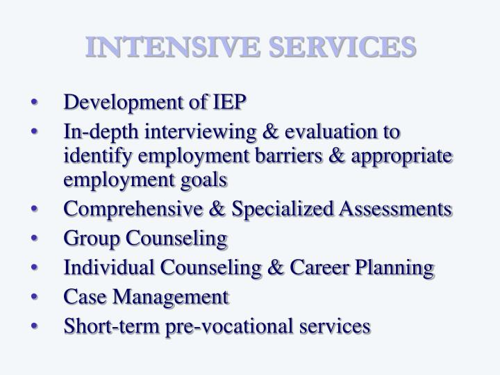 INTENSIVE SERVICES