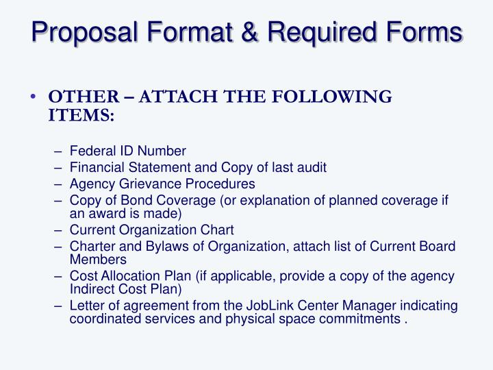 Proposal Format & Required Forms