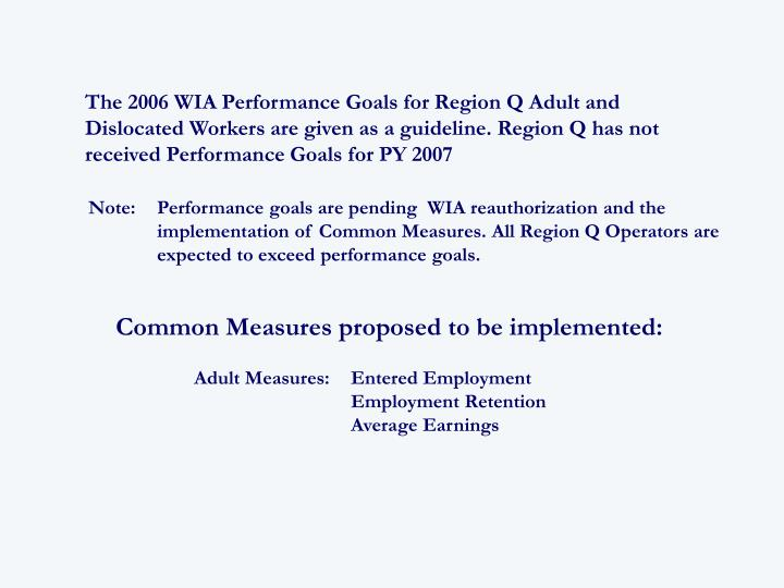 The 2006 WIA Performance Goals for Region Q Adult and Dislocated Workers are given as a guideline. Region Q has not received Performance Goals for PY 2007