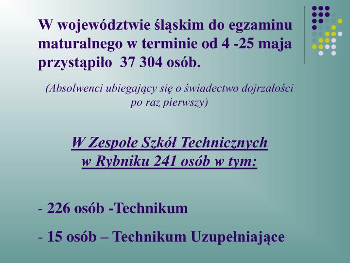 W województwie śląskim do egzaminu maturalnego w terminie od 4 -25 maja