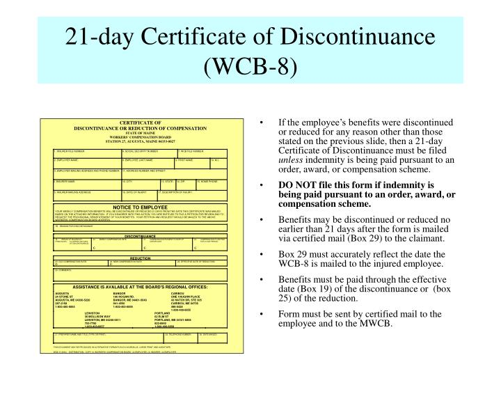 21-day Certificate of Discontinuance (WCB-8)