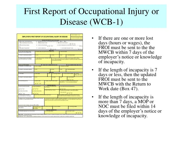 First Report of Occupational Injury or Disease (WCB-1)
