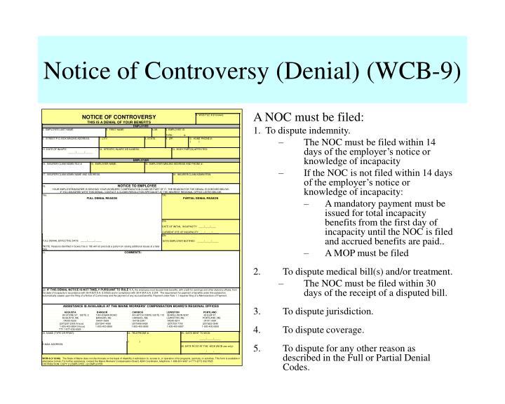 Notice of Controversy (Denial) (WCB-9)