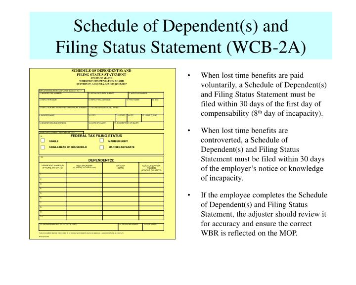 Schedule of Dependent(s) and