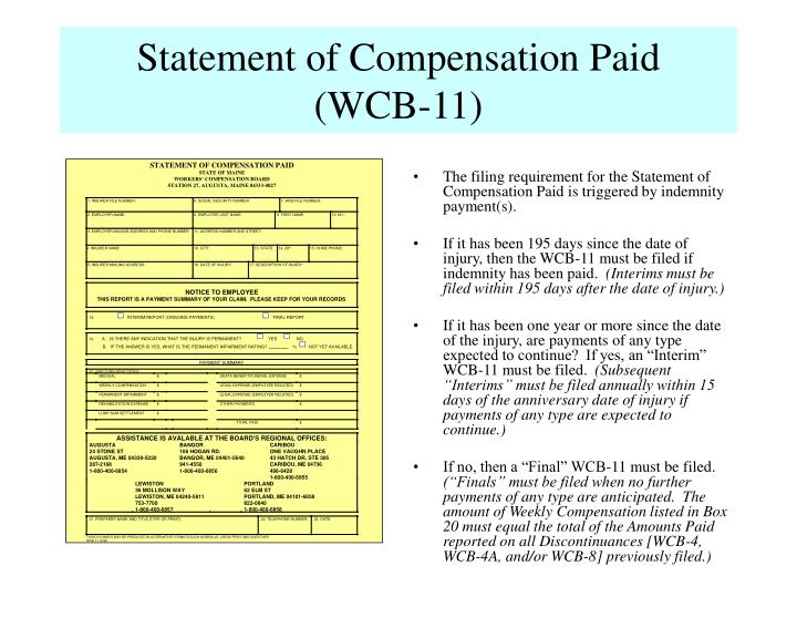 Statement of Compensation Paid