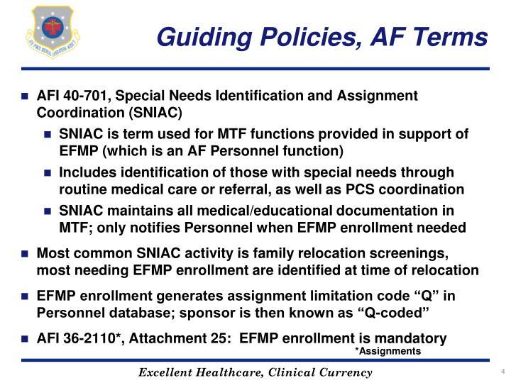Guiding Policies, AF Terms